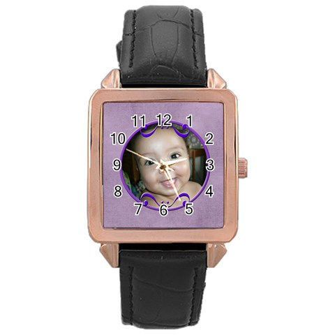 Purple Watch By Angeye   Rose Gold Leather Watch    Qkeyh0660lj5   Www Artscow Com Front