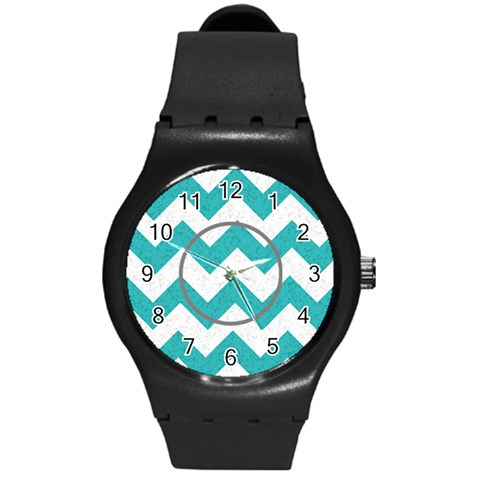 Gray/turquoise Chevron Sport Watch By Amanda Bunn   Round Plastic Sport Watch (m)   Vbfy72thvpdx   Www Artscow Com Front