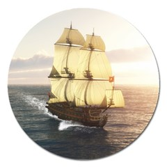 French Warship Magnet 5  (round)