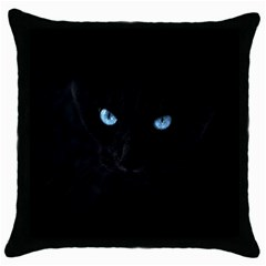 Black Cat Black Throw Pillow Case by cutepetshop