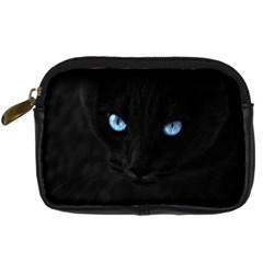 Black Cat Digital Camera Leather Case by cutepetshop