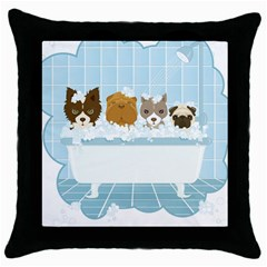 Dogs In Bath Black Throw Pillow Case by cutepetshop