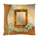 Rust/Gold Floral Love Cushion Case 1 side - Standard Cushion Case (One Side)