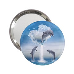 The Heart Of The Dolphins Handbag Mirror (2 25 ) by gatterwe