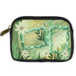 Aqua blue green floras digital camera case - Digital Camera Leather Case