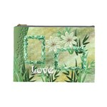 Aqua blue green floral cosmetic bag lg - Cosmetic Bag (Large)