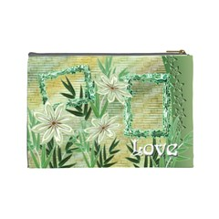 Aqua Blue Green Floral Cosmetic Bag Lg By Ellan   Cosmetic Bag (large)   X77ohba9cffw   Www Artscow Com Back