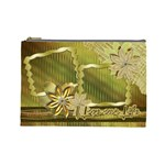Gold love floral cosmetic bag lg - Cosmetic Bag (Large)