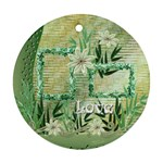 aqua blue green love floral round ornament - Ornament (Round)