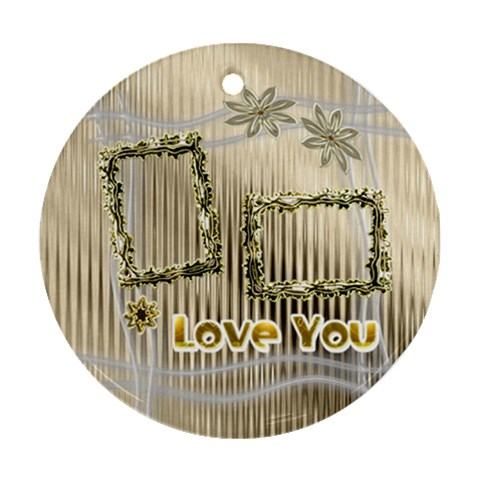 Neutral Love Floral Round Ornament By Ellan   Ornament (round)   E4xrk90iglyz   Www Artscow Com Front