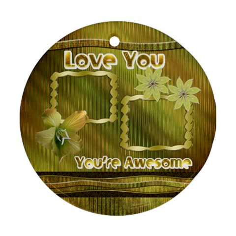 Love You Gold Floral Round Ornament By Ellan   Ornament (round)   H9busvungxuj   Www Artscow Com Front