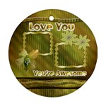 Love You Gold floral round ornament - Ornament (Round)