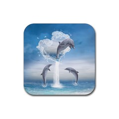 The Heart Of The Dolphins Drink Coasters 4 Pack (square) by gatterwe