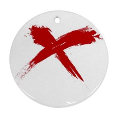 Red X Round Ornament by magann