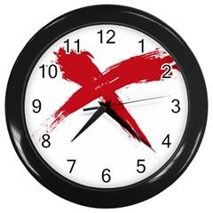 Red X Wall Clock (black) by magann