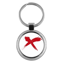 Red X Key Chain (round) by magann