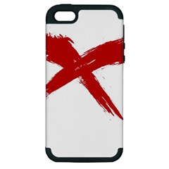 Red X Apple Iphone 5 Hardshell Case (pc+silicone) by magann