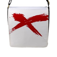 Red X Flap Closure Messenger Bag (large) by magann