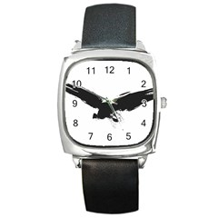 Grunge Bird Square Leather Watch by magann