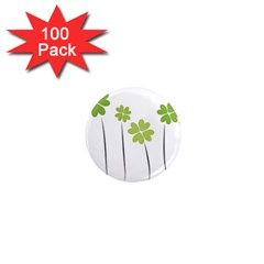 Clover 1  Mini Button Magnet (100 Pack) by magann