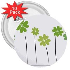 Clover 3  Button (10 Pack) by magann