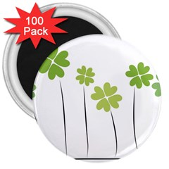 Clover 3  Button Magnet (100 Pack) by magann