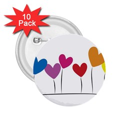 Heart Flowers 2 25  Button (10 Pack) by magann
