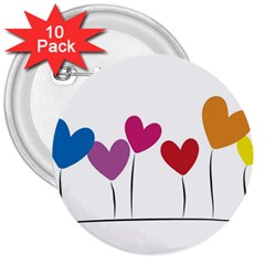 Heart Flowers 3  Button (10 Pack) by magann