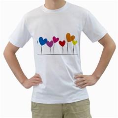 Heart Flowers Mens  T Shirt (white) by magann