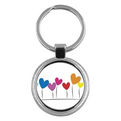 Heart Flowers Key Chain (round) by magann