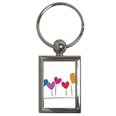 Heart Flowers Key Chain (rectangle) by magann