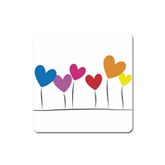 Heart Flowers Magnet (square) by magann