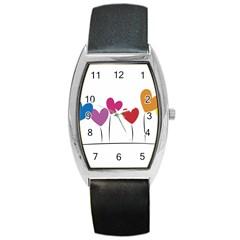 Heart Flowers Tonneau Leather Watch by magann