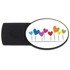 Heart Flowers 4gb Usb Flash Drive (oval) by magann