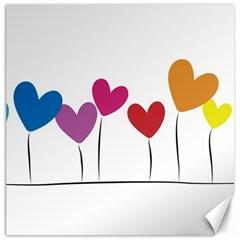 Heart Flowers Canvas 16  X 16  (unframed) by magann