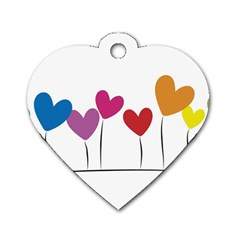 Heart Flowers Dog Tag Heart (one Sided)  by magann