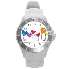 Heart Flowers Plastic Sport Watch (large) by magann