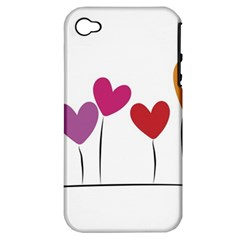 Heart Flowers Apple Iphone 4/4s Hardshell Case (pc+silicone) by magann