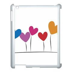 Heart Flowers Apple Ipad 3/4 Case (white) by magann