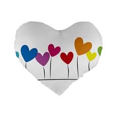 Heart Flowers 16  Premium Heart Shape Cushion  by magann