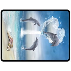 The Heart Of The Dolphins Fleece Blanket (extra Large) by gatterwe