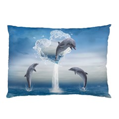 The Heart Of The Dolphins Pillow Case (two Sides) by gatterwe