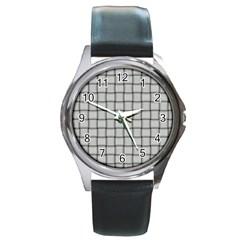 Gray Weave Round Metal Watch (silver Rim) by BestCustomGiftsForYou