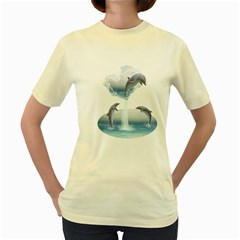 The Heart Of The Dolphins  Womens  T Shirt (yellow) by gatterwe