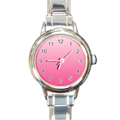 Piggy Pink To French Rose Gradient Round Italian Charm Watch by BestCustomGiftsForYou