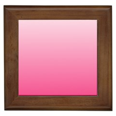 Piggy Pink To French Rose Gradient Framed Ceramic Tile by BestCustomGiftsForYou