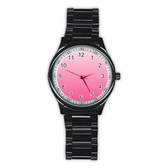 Piggy Pink To French Rose Gradient Sport Metal Watch (black) by BestCustomGiftsForYou