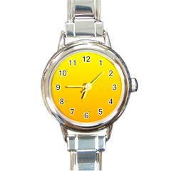 Yellow To Chrome Yellow Gradient Round Italian Charm Watch by BestCustomGiftsForYou