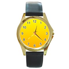 Yellow To Chrome Yellow Gradient Round Metal Watch (Gold Rim)  by BestCustomGiftsForYou