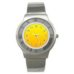 Yellow To Chrome Yellow Gradient Stainless Steel Watch (unisex) by BestCustomGiftsForYou